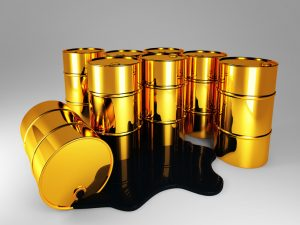 3d image of oil golden barrel background